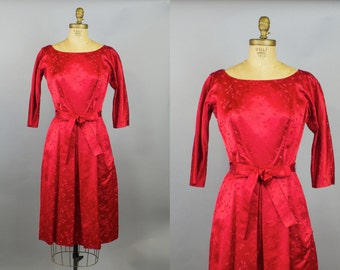Pucker Up Dress  / 50s  Dress /  Red Satin Party Dress / Small