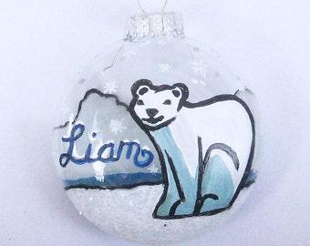 Handpainted Glass Polar Bear Ornament, Personalized