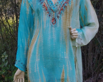 Silk Embroidered Blouse / Hi Fashion Silk Tunic Beaded / Tunic Hight Quality / Silk Kurti