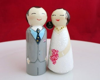 Wedding cake topper, Wedding peg doll, Personalised dolls, Bride and Groom, Cake toppers, Wedding couple, Wooden wedding gift, For couple