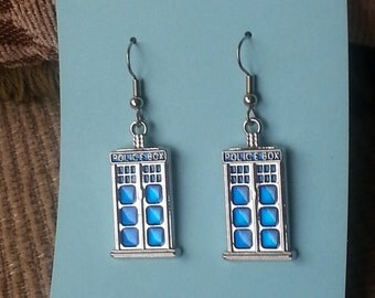 Tardis Charm Earrings -  Low shipping - Plus Only Pay Shipping On 1st Item (US Only).