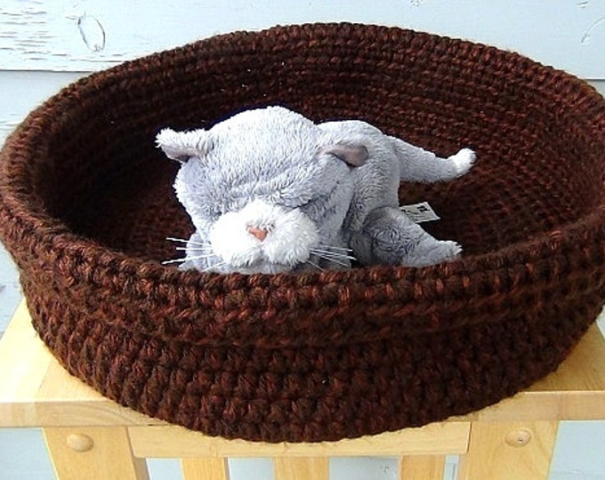 Double Chocolate Brown Basket - Brown Pet Basket - Large Soft Sides Pet Bed - Dog Bed - Cat Bed - Crochet Rolled Brim Basket