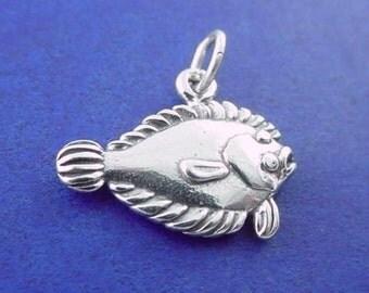 Pacific HALIBUT Charm .925 Sterling Silver Flatfish, Flounder, Fish Pendant - lp2633
