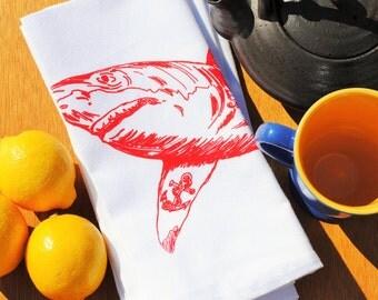Cloth Dinner Napkins - Eco Friendly - Screen Printed Cotton Cloth Napkins - Red Shark - Eco Friendly Napkins