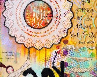 Paul Simon - Choose Joy - Mixed Media Collage Art - Smile Inspirational Art - Whimsical Art - Modern Wall Art - Cool Posters - Giclee Print