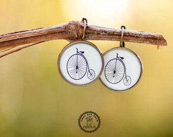 Old Bicycle Dangle Earrings, Penny Farthing Bike Earrings, Gift for Bike Lover Women Sister Her, Photo Image Picture Earrings Jewelry