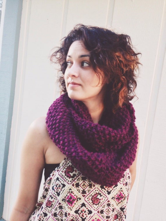 Chunky Knit Infinity Scarf Seed Stitch Over-Sized Wool Fashion