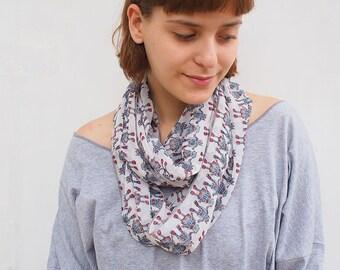 Woman Robot scarf, woman infinity scarf, chiffon infinity scarf, robot print scarf, white scarf