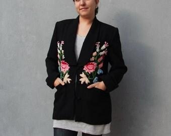 Embroidered Black Blazer Revamped Vintage Jacket Embellished with Embroidery size medium