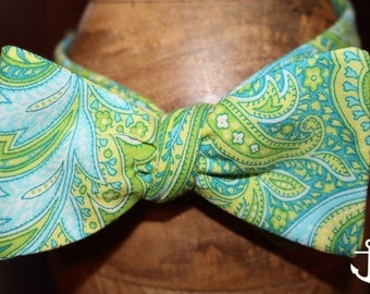 The Harbor-Green and Blue Paisley Bow Tie
