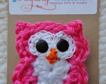 Handmade Crocheted Owl Pin