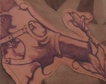 Leather Burned handmade book bag/purse/art piece