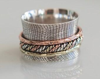Dea Spinner Ring - Meditation Ring - Anti Stress Ring - Three Metal Rings - Multi Metal Ring - Mixed Metal Ring - Unisex Ring - Yoga Ring