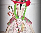Primitive Folk Art Doll Whimsy Christmas Witch Doll Candy Canes  BICOFG Witch Is Why