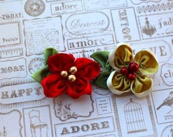 m2m Joy/KIB: Handmade Ribbon Flower Hair Clip (or headband), m2m Well Dressed Wolf Joy and King is Born Christmas Dresses