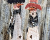 Primitive Snowman Small Standing Country Holiday Home Decor