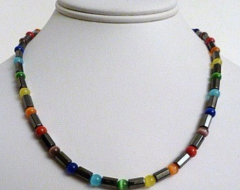 Chakra Cats Eye Faceted Magnetite Magnetic Necklace