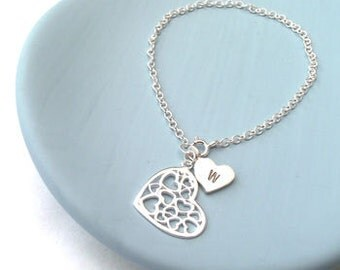Initial Heart Bracelet