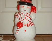 "Vintage Ceramic Mold 14.5"" SNOWMAN Lighted Holiday CHRISTMAS Decoration"
