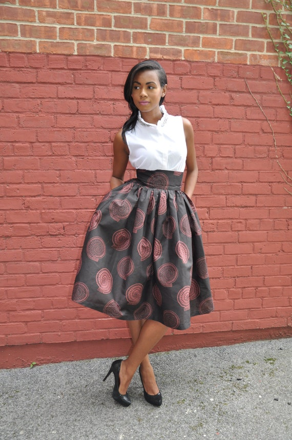 African Print Skirt- The Madison Midi Skirt