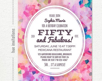 50 and fabulous birthday invitation, purple watercolor 50th birthday party invitation, modern geometric violet magenta pink, 5x7 jpg pdf 605
