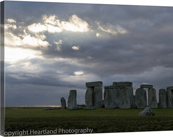 Stonehenge Canvas, UK Landscape, English Picture, Travel Photography, Cloud Images, Mysterious Site, United Kingdom, England Countryside