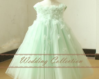 Mint Flower Girl Dress With Handmade Flowers and Pearls