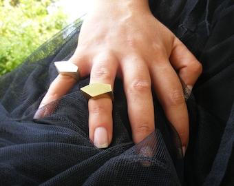 Asymmetry-Geometric Ring , Gold Ring , Statement  Ring , Faceted Gold Ring , Geometric Ring , Geometric Gold Ring ,  Handmade Gold Ring .