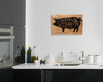 "Butcher Chart Kitchen Wall Art  Pork Diagram Sign on Distressed Solid Wood - 17"" x 11"""