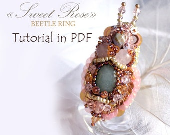 Tutorial in PDF, bead embroidery tutorial, ring tutorial, jewelry tutorial