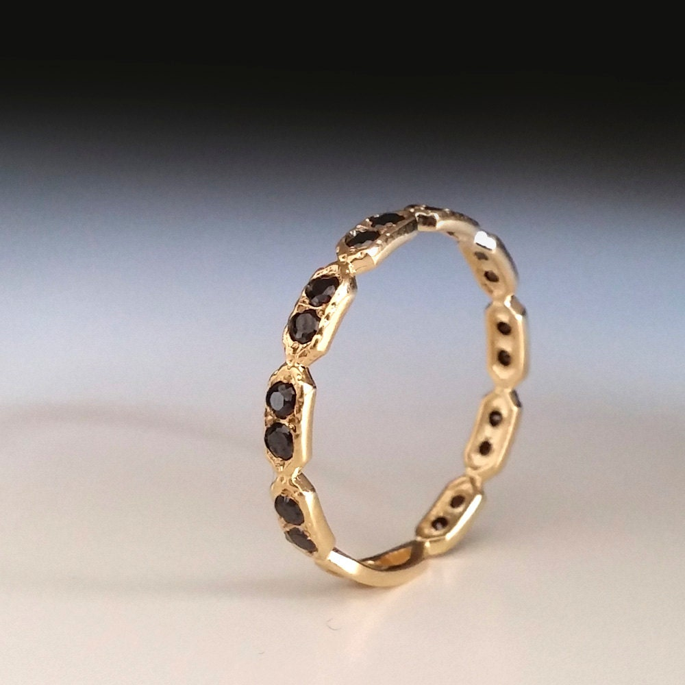 eternity ring black stone ring thin band dainty gold. Black Bedroom Furniture Sets. Home Design Ideas