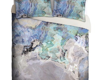 Duvet Cover with abstract art, king duvet cover or queen duvet cover in blue and gray, contemporary bedroom decor, Out of the Blue