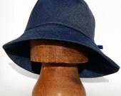Asymmetric floppy widebrim denim hat