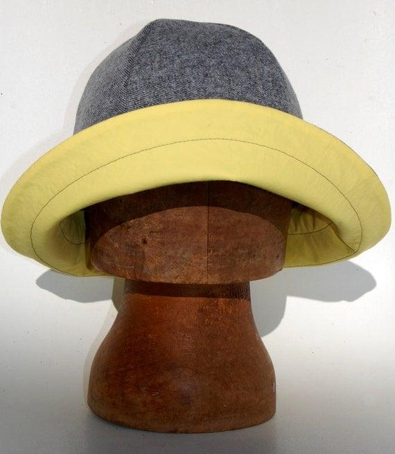 Grey Amp Yellow Tweed Fall Sou Wester Womens Rain Hat By Zuthats