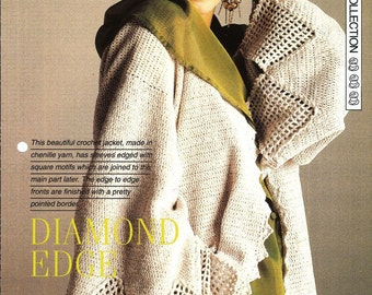 "Crochet pattern - Woman's ""Diamond Edge"" jacket cardigan - Instant download"