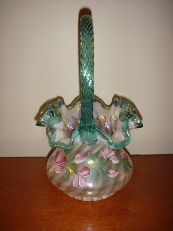 Fenton Basket 90th Anniversary Hand Painted With Family