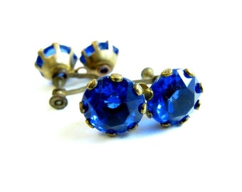 Large Blue Sapphire Rhinestone Earrings