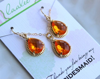 Gold Burnt Orange Jewelry Set Tangerine Earring Necklace Orange Wedding Jewelry Set Bridesmaid Jewelry Bridal Gift Personalized Note Card