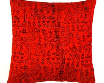 Warli Cushion Cover( Bright Red)