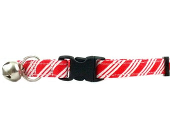 Christmas Candy Cane Red & White Stripe Holiday Cat Breakaway Safety Collar