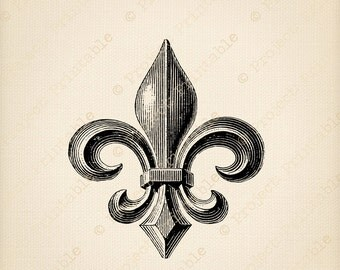 Vintage FLEUR DE LIS Fabric Transfer - Instant Download - Printable Digital Graphics - clipart image - iron on pillows cushions