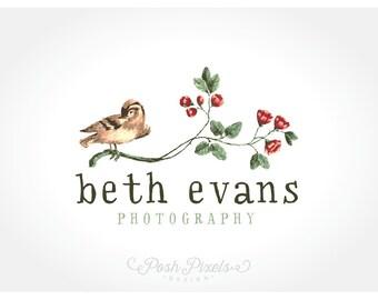 Logo Design (Premade) Bird Logo, Photography logo, Vintage Logo, Floral logo, Boutique Logo, Shabby Chic logo