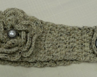 Crocheted Ear Warmer with Flower in Oatmeal Yarn