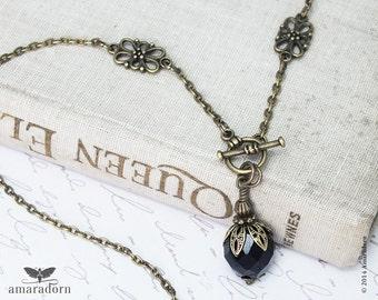 Edwardian Necklace, Black Crystal Neck Chain,1900's Jewellery, Antique Style Pendant, Edwardian Jewellery, Handmade UK