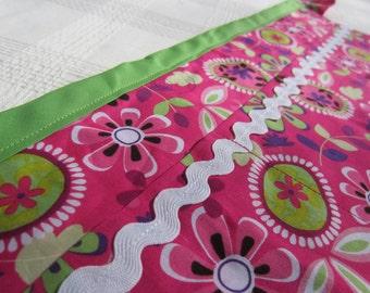Modern Pink & Green Flower Utility Apron