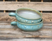 Reserved for Loran- 2 Stoneware Soup or Chili Mugs - Handled Soup Bowls
