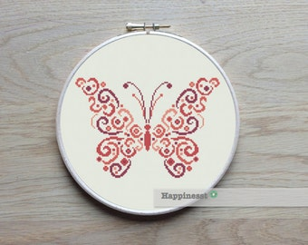 cross stitch pattern butterfly, modern cross stitch, PDF,  ** instant download**