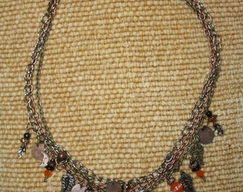 Halloween Fall Harvest Leaves Charm Necklace
