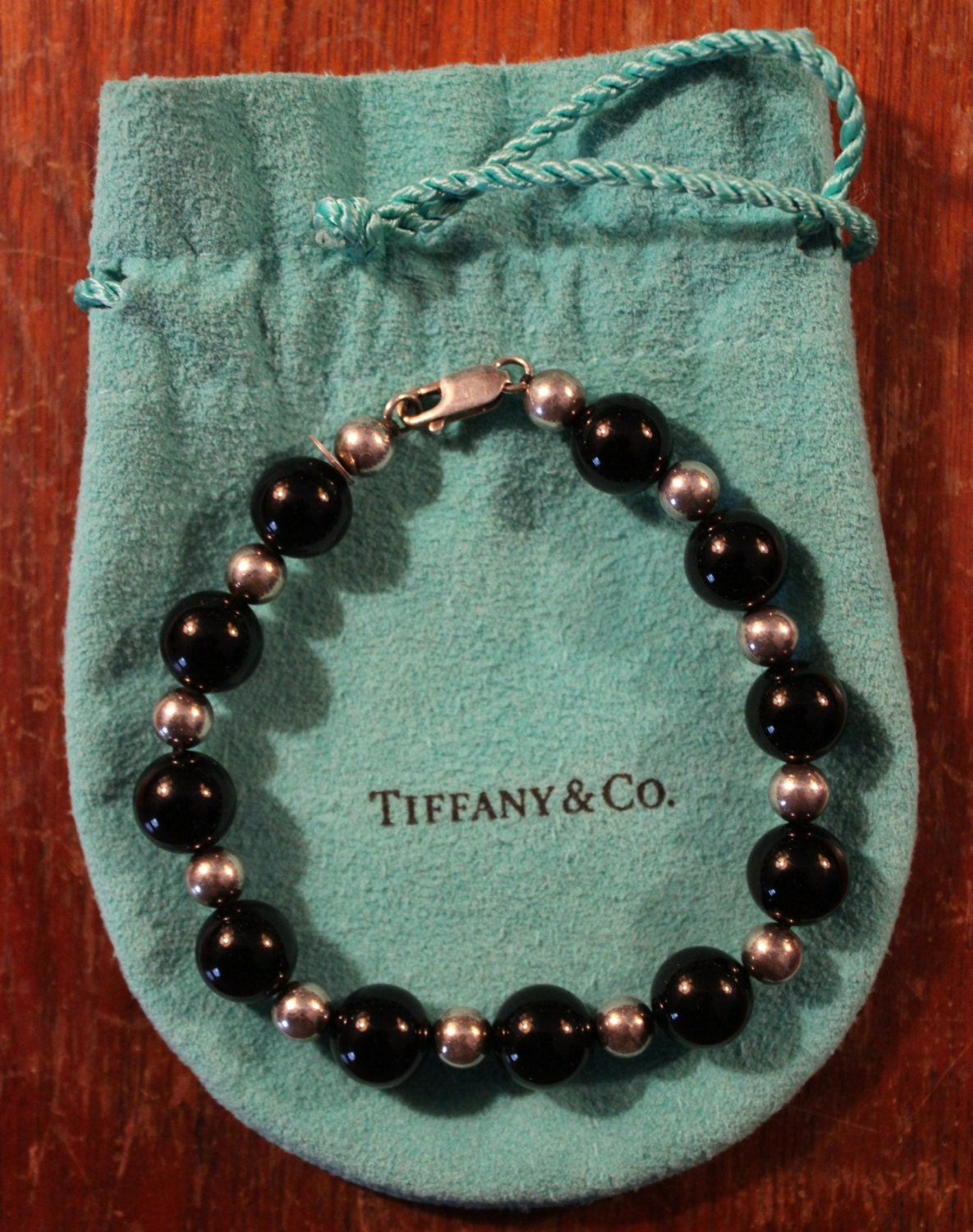 Vintage Tiffany Amp Co Black Onyx And Sterling Silver Bead