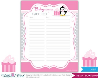 penguin guest gift list guest sign in sheet card for baby shower